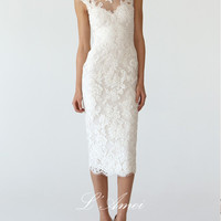 Elegant Mandarin Collar, Cap Sleeves, Tea Length Short Lace Sheath Wedding Dress