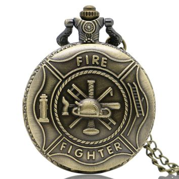 Vintage Bronze Firefighter Symbol Steampunk Quartz Analog Pocket Watch Necklace Chain Men Boy Gifts Collection Watch