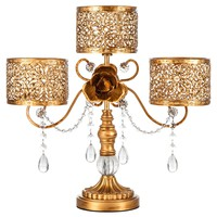 Antique 3 Pillar Crystal-Draped Hurricane Candle Holder Centerpiece (Gold)