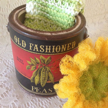 1 Sunflower Scrubby / 1 Knit Dishcloth in Vintage Label Pea Can / Gift Set - Ceramic Dish - Gift for Her