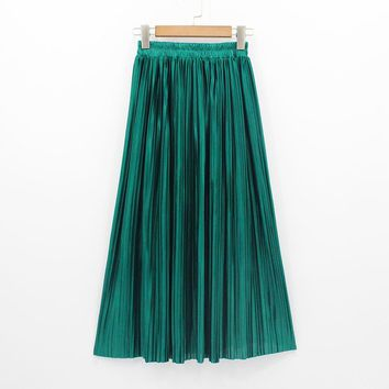 New Women Fashion Long Skirts High Waist Pleated Maxi Skirt Bling Metallic Silk Tutu Skirt