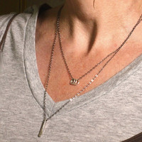 VALENTINE'S DAY, Silver Layering Necklace, Modern Dark Jewelry Three Silver Rings Dauntless Necklace Black Chain