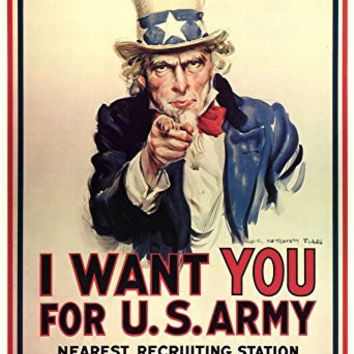 I Want You for U.S. Army Uncle Sam WWII War Propaganda Art Print Poster 13 x 19in