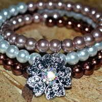 Flower Charm Memory Wire Bracelet With Glass Pearls, Gypsy Bangles, Stack Bracelet