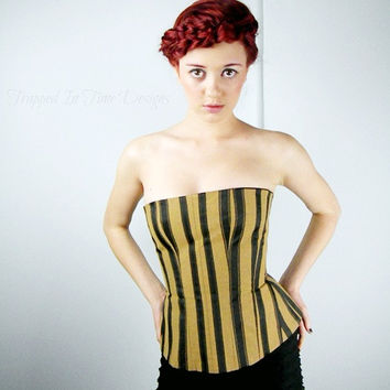 Bustier Corset, Striped Corset, Gothic Bustier