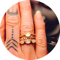 Parvarti Stacking Gold and Stone 3 Ring Set