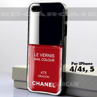 475 Dragon, Le Vernis - Hard Cover, Nail Polish - For iPhone 4 / 4S, iPhone 5 - Black / White Case