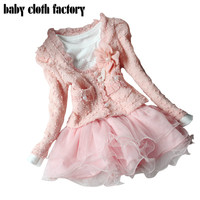 High quality  dresses and coat winter Autumn baby wear clothes girls clothing sets children dress child clothing