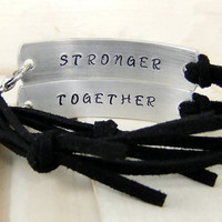 Stronger Together, His and Her's bracelets, Couples Bracelets, Leather Bracelets, Couples Jewelry