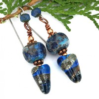 Blue Lampwork Spike Boho Earrings, Handmade Rustic Glass Artisan Dangle Jewelry