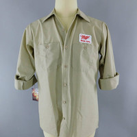 Miller High Life Beer / Delivery Man / Tan MEDIUM Long Sleeve / Work Shirt / Beer Patch / Patches