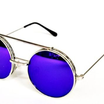 "V137-vp Flip up Round Metal Sunglasses Eyeglasses Mirrored Lens 2"" (6006rv Silver Indigo Blue, Mirrored)"