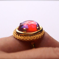 Mexican Fire Opal Ring Adjustable Vintage Cabochon Dragon's Breath Czech Glass