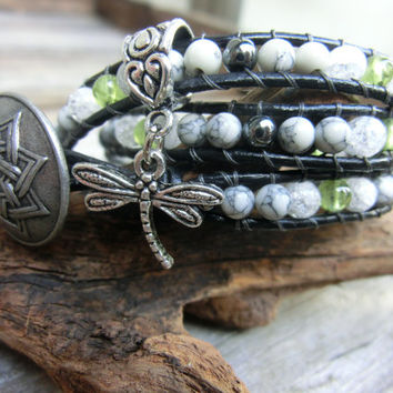 Summer - Handmade Leather Wrap Bracelet Jewelry made in Japan by Off on a Whim with howlite - peridot - quartz - hematite