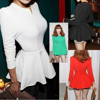 Sexy Womens Lady Elegant Puff Sleeve Peplum Cocktail Evening Top shirt = 1933005508