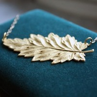 Golden Fall Foliage Leaf Necklace