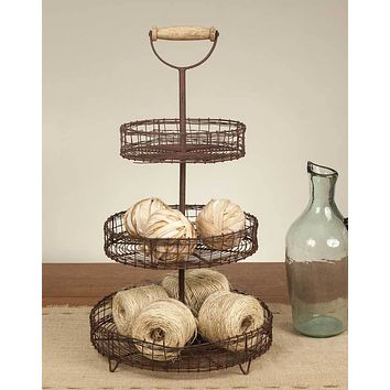 Rustic Primitive Wire 3 Three Tier Tiered Stand Basket Tray with Wood Handle