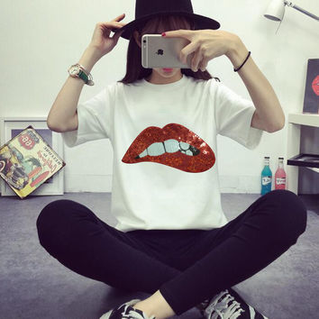 New  Embroidery Lace Applique Paillette Red Lips POP rainbow wings Fabric Clothes Patch Stickers Clothes T-Shirt Diy Accessories