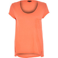 River Island Womens Coral linen low scoop neck t-shirt
