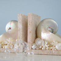 Nautilus Shell Bookends for Beach Decor - Nautical Decor Seashell Book Ends w Nautilus, Coral