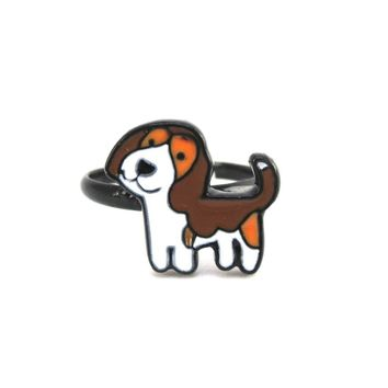 Beagle Puppy Shaped Enamel Adjustable Ring for Dog Lovers