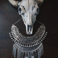 Statement Necklace   Handcrafted: Riveting Formation. Silver layered bohemian necklace