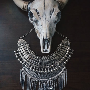 Statement Necklace | Handcrafted: Riveting Formation. Silver layered bohemian necklace