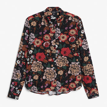 Classic button-up shirt - Floral print - Tops - Monki GB