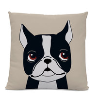 Boston Terrier Pillow - Boston Terrier Illustration Pillow - Modern Home Decor Living Room - Dog Pillow - Dog Lover Gift - Dog Lover Pillow