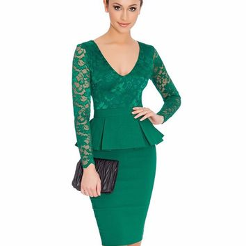 NEM065 Long sleeve peplum dress Deep V neck sexy lace dress plus size elegant wear to work bodycon dress hot Women midi dress