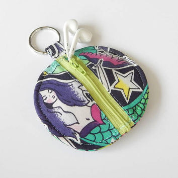 Mermaid Earbud Holder / Coin Pouch / Tattoo Coin Purse / Cute Earbud Case / Ear Bud Holder / Back to School / Small Circle Pouch