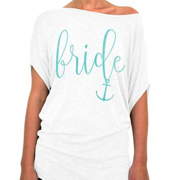 Bride Shirt Nautical Script Collection Slouchy Tee - Off The Shoulder Slouchy T-shirt