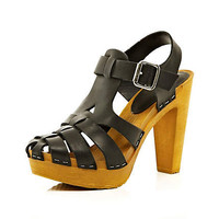 Black gladiator clog heel sandals - heels - shoes / boots - women