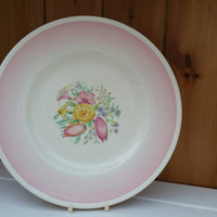 Rare Susie Cooper 10inch dinner plate pink Printemps pattern/1930s English tableware