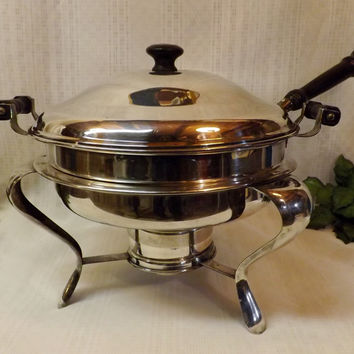 40s Chafing Dish Armor Silver EPC Silver Plate Warming Server
