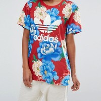 adidas Originals Farm Big Floral Print Boyfriend T-Shirt at asos.com
