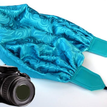 Bright green blue scarf camera strap. DSLR / SLR Camera accessories. Scarf camera strap for Canon, Nikon, Fuji & other cameras.