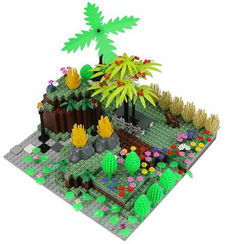City Block MOC Mini City Bush Trees Grass Plants Flowers Light DIY Building Blocks Brick Action Figure Toys Legoed Toy Particles