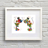 Mickey an Minnie Watercolor Print Disney Fine Art Poster, Wall Art, Nursery room, Gift for kids, Home Decor Mickey Mouse Illustration