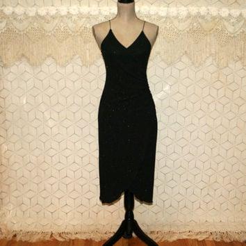 80s Sexy Black Dress Sparkly Spaghetti Strap Disco Club Party Dress XS Small V Neck Ruched Fitted 1980s Vintage Clothing Womens Clothing