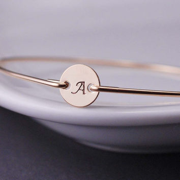 Initial Bracelet Custom Gold Initial Bangle by georgiedesigns