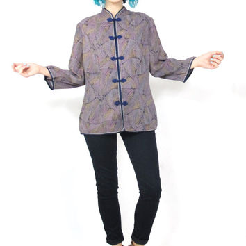 Vintage 70s Chinese Blouse Purple Floral Abstract Print Cheongsam Shirt Asian Mandarin Collar Loose Long Sleeve Top (L)