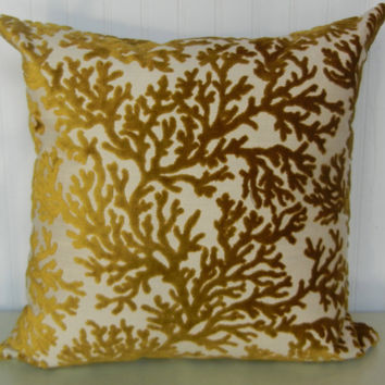 Velvet  Decorative Throw Pillow- 20 x 20  Chartreuse Coral Accent Pillow Cover