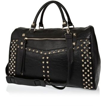 River Island Black stud and gem bowler bag