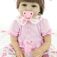 Silicone reborn baby doll toys for girl, lifelike reborn babies play house toy birthday gift girl brinquedods pink princess doll 55 cm. 21 inch.