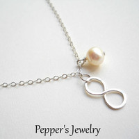 Pearl Infinity Necklace Silver Infinity Necklace Infinity Jewelry Silver Infinity Charm Necklace Silver Wirework Necklace Infinity Pearl