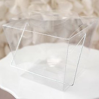 12 Clear Chinese Asian Small Take Out Boxes Favor Cupcake Holder Easy Close Top