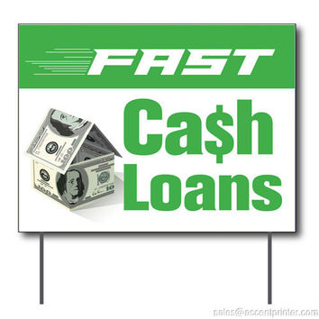 "Fast Cash Loans Curbside Sign, 24""w x 18""h, Full Color Double Sided"