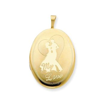 1/20 Gold Filled 20mm My Love with Couple Oval Locket