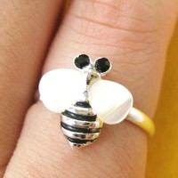 Bumblebee Bee Shaped Animal Adjustable Ring in Silver with Pearl Colored Wings